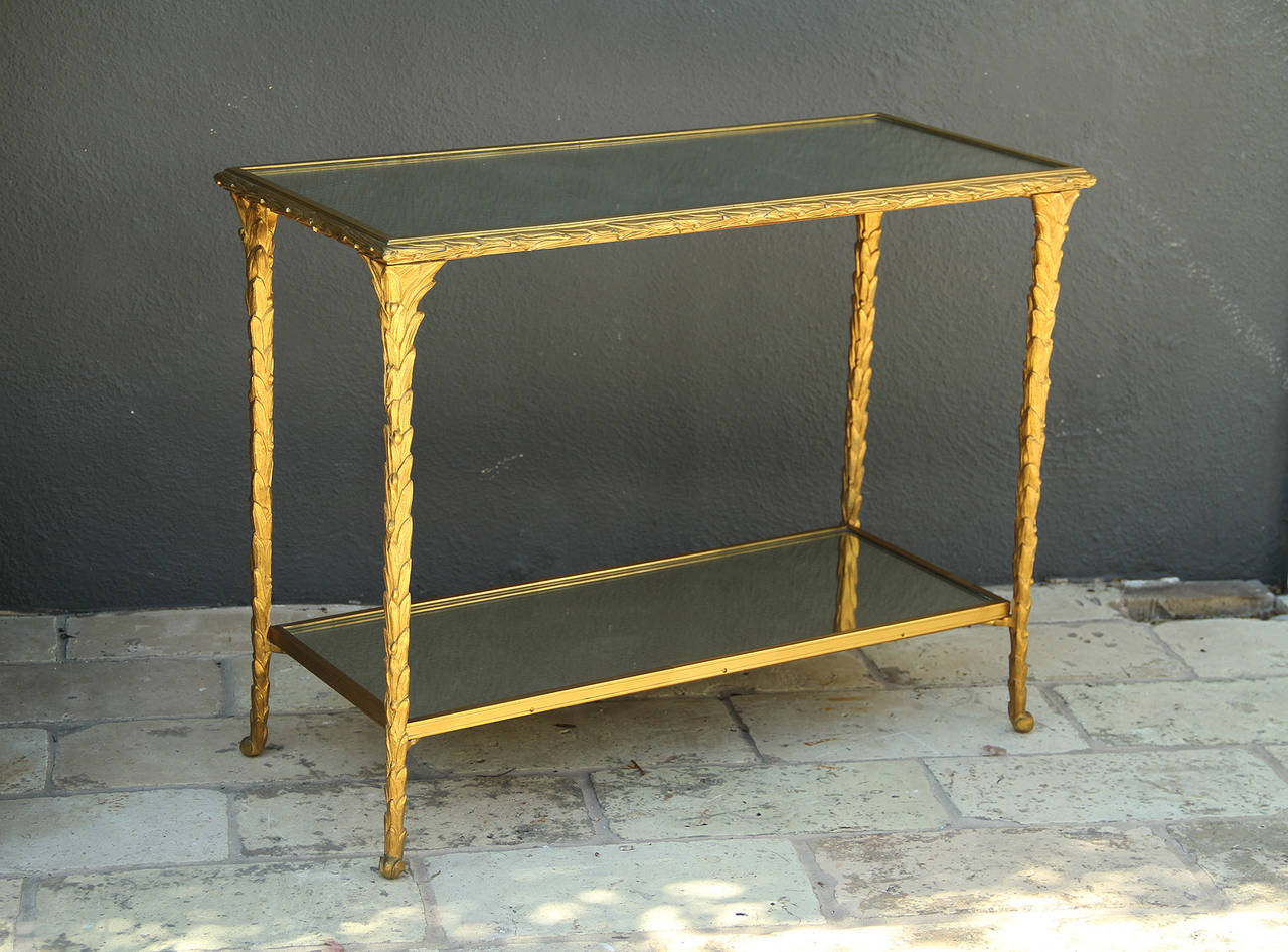 Pair of Bronze Side Tables by Baguès For Sale 1