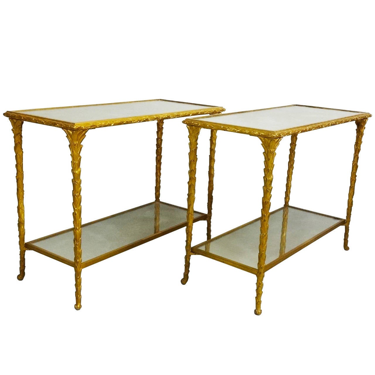 Pair of Bronze Side Tables by Baguès For Sale
