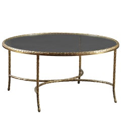 CHARLES & FILS: Gilt Bronze and Glass Coffee Table