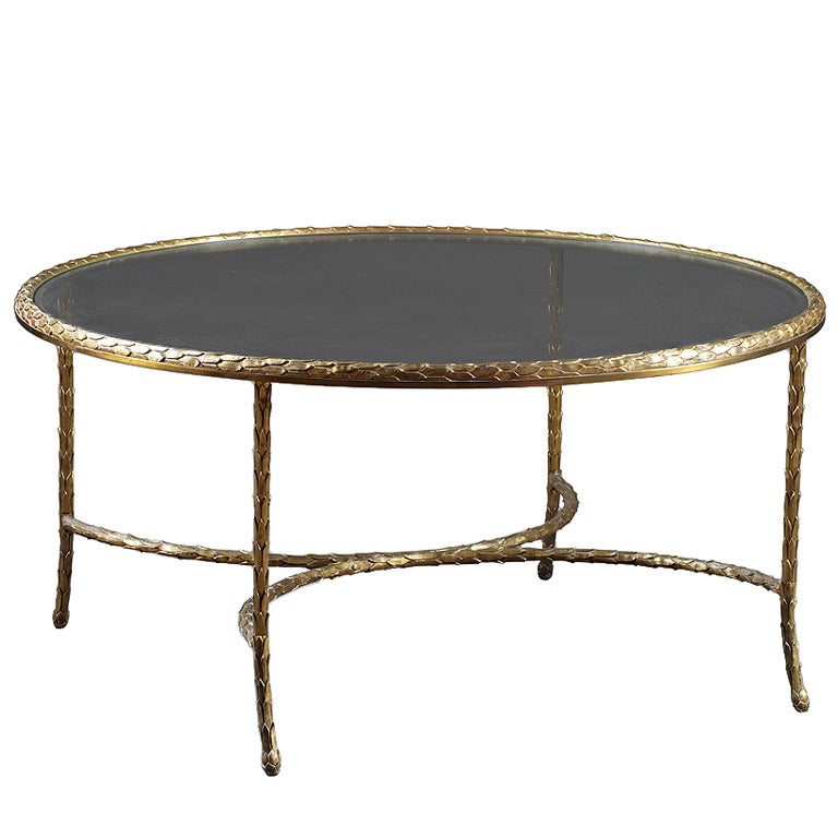 Charles And Fils Gilt Bronze And Glass Coffee Table At 1stdibs