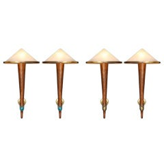 Cafe Francais: Set of 4 Large Torcher Sconces With Conic Shades