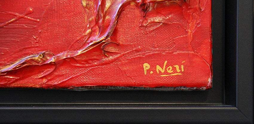 This striking, textured piece by Neri floats inside of a black custom-made wooden frame.  It is in original condition and adds a beautiful splash of color to its surroundings. The red tones are lightly accented with gold tones to enhance its