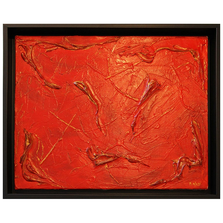 Philip Neri Framed Abstract Painting 1970 For Sale