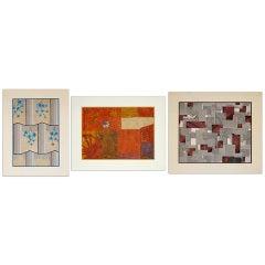 Set of Three Original Art Deco Gouaches, France 1920-1940
