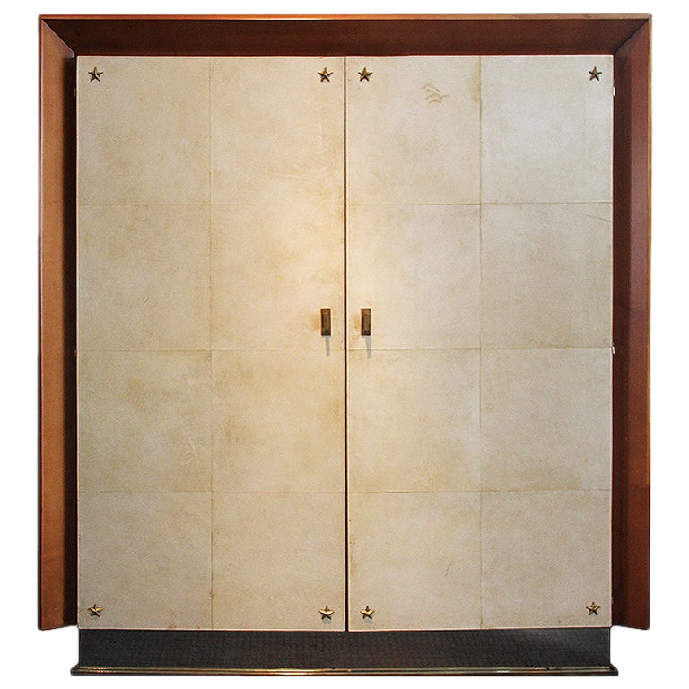 wonderful large art deco 1940 parchment armoire at 1stdibs. Black Bedroom Furniture Sets. Home Design Ideas