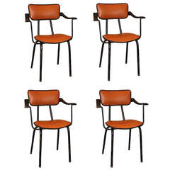 Jacques Adnet, Rare Set of Four Armchairs, France, 1955