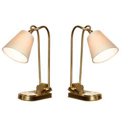 Prince De Galles Hotel Paris, pair of adjustable bronze lamps, circa 1930
