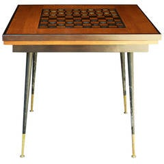 1940 Game Table with 40 Pieces, French Checkers Board