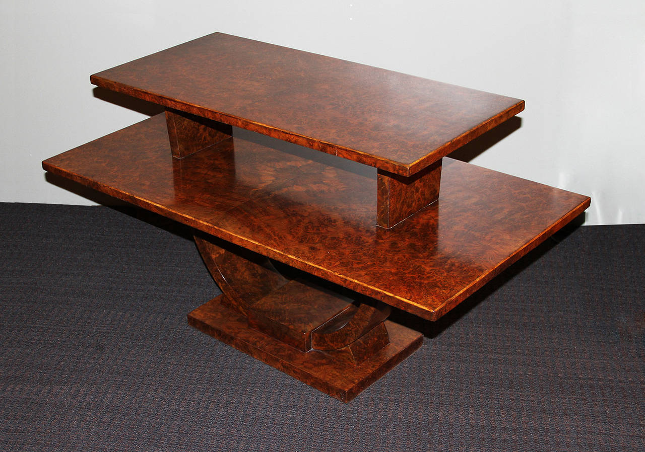 Amboyna Jules Leleu, Rare Coffee Table, France, 1930 For Sale