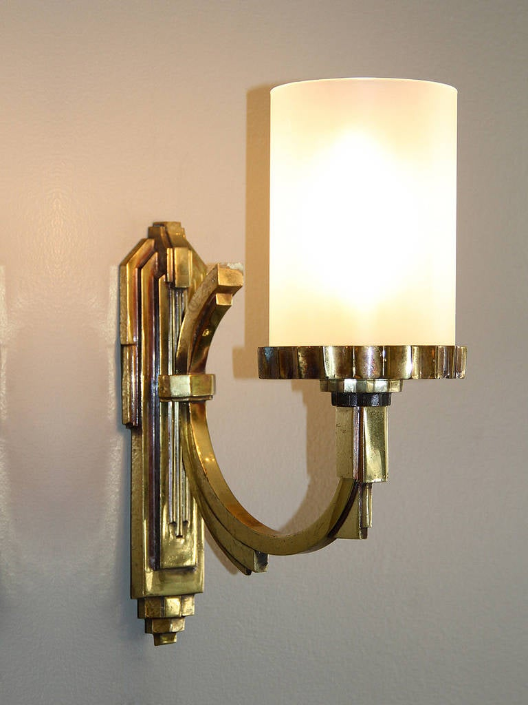 Mid-20th Century Petitot One Gilt Bronze, 1930s Art Deco Sconce For Sale