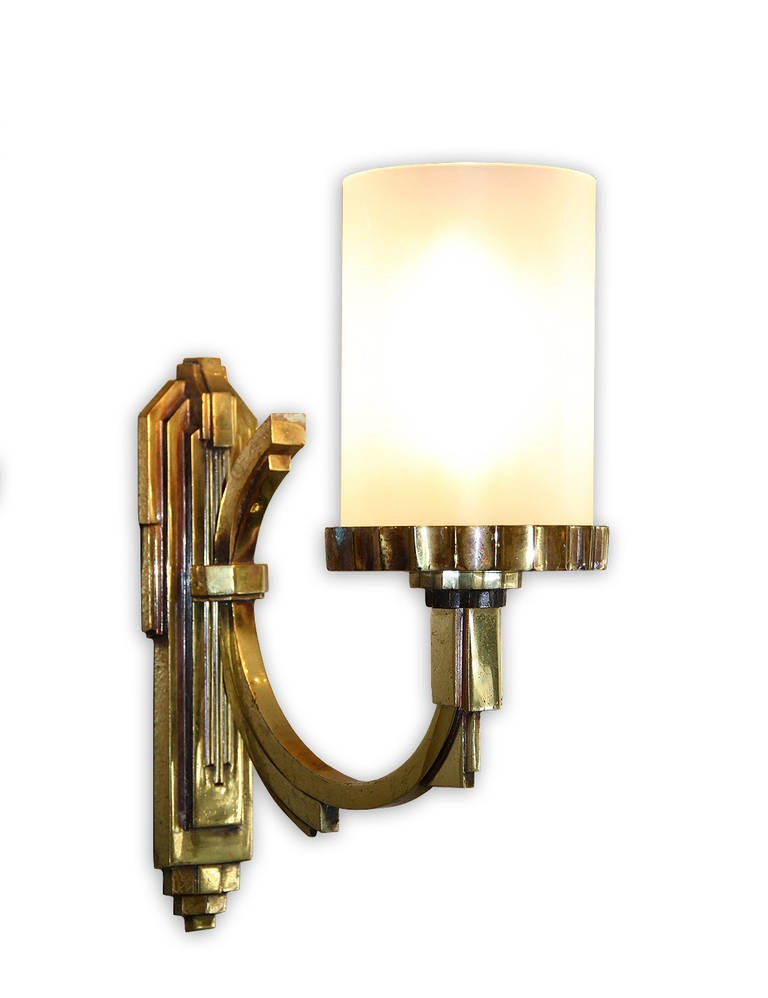 French Petitot One Gilt Bronze, 1930s Art Deco Sconce For Sale