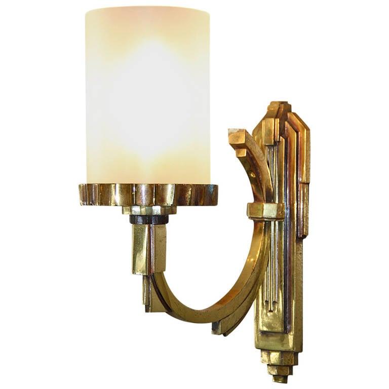 Petitot One Gilt Bronze, 1930s Art Deco Sconce 1
