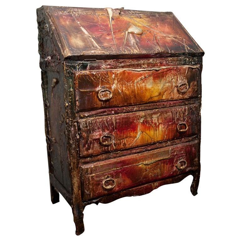 Francois Archiguille Painted Slant Front Desk Unique Piece
