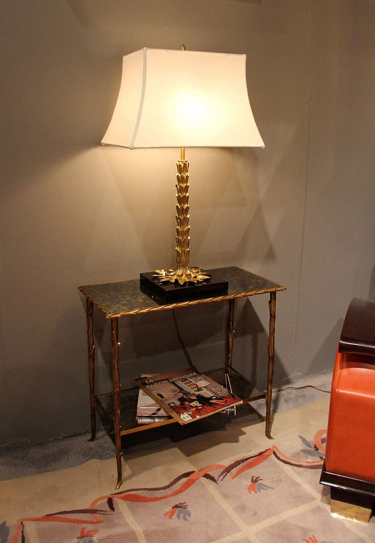 Rare pair of palm tree gilt bronze lamps by maison charles for Table franco et fils