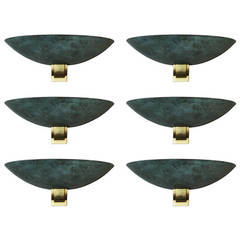 Set of Six Large Bronze Sconces Attributed to Perzel, 1950