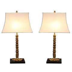 Rare Pair of Palm Tree Gilt Bronze Lamps by Maison Charles et Fils