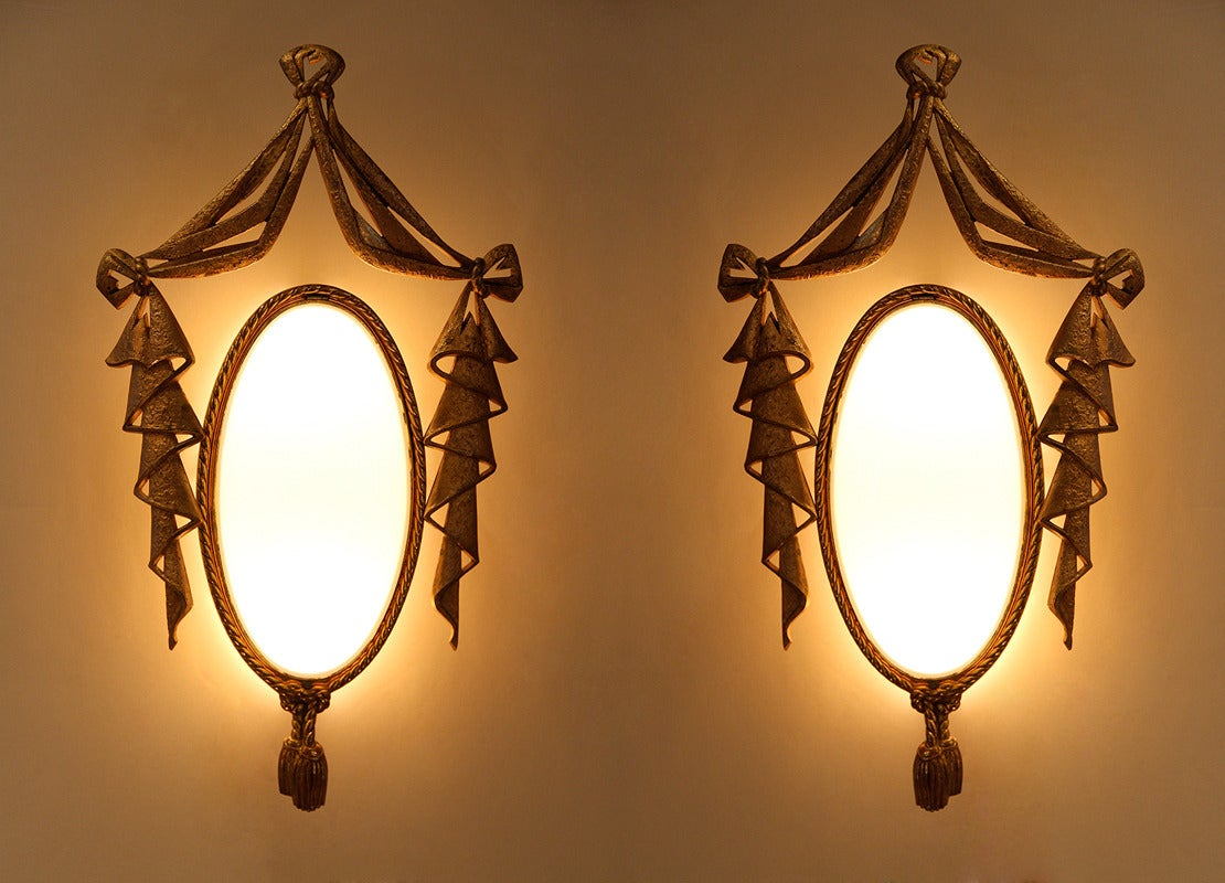 Very Elegant Pair of Bronze Sconces by J. Barat 5