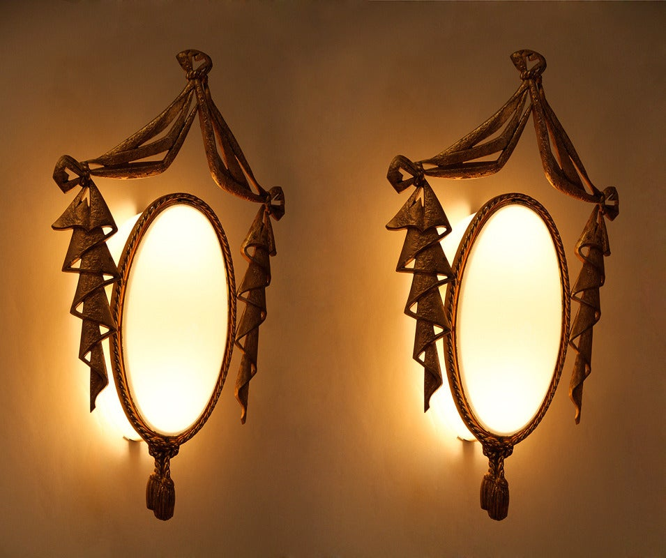 Very Elegant Pair of Bronze Sconces by J. Barat 3