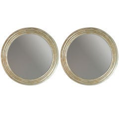 Classic pair of silver/ gold leaf circular mirrors