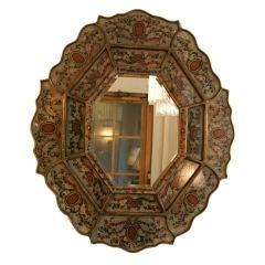 Octagonal eglomise bevelled mirror