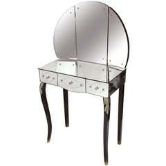 Vintage Etched Mirrored Three Draw Vanity