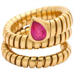 Bulgari Tubagos Gold and Ruby Ring