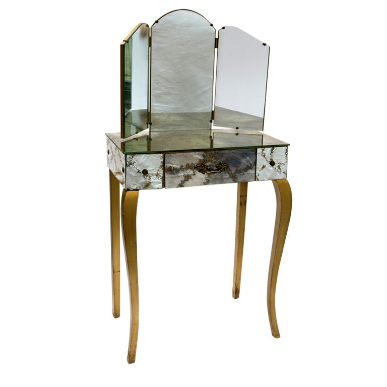 Smoky mirrored vanity with gold flecks at 1stdibs