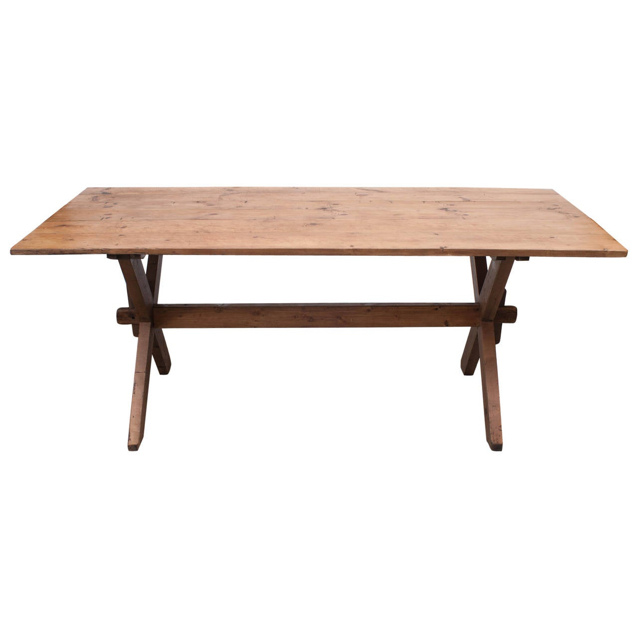 Pine Trestle Table At 1stdibs