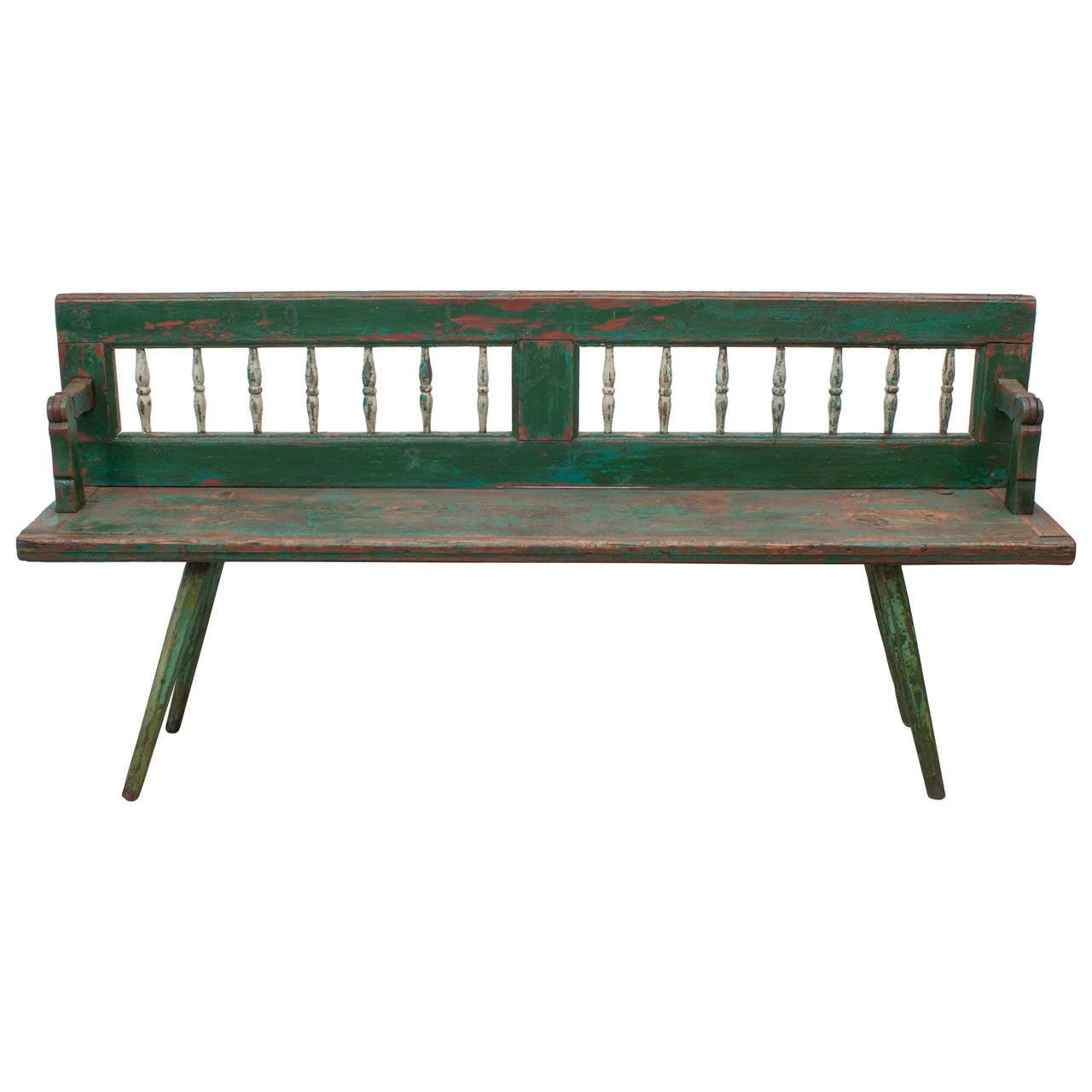 Pine Swivel Back Bench At 1stdibs