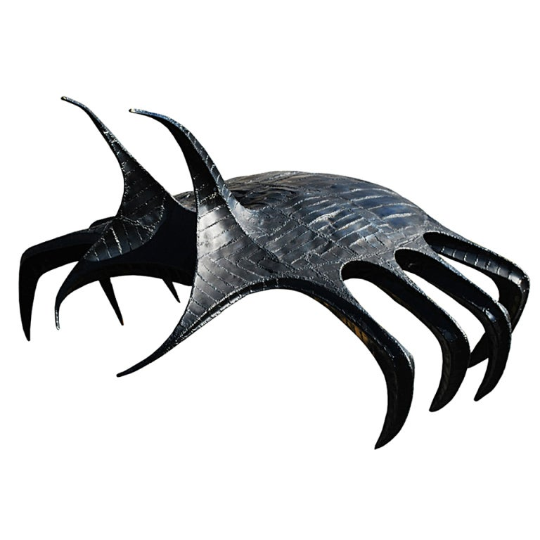Giant Brutalist Metal Futuristic Sculpture of Beetle or Spider Hybrid For Sale