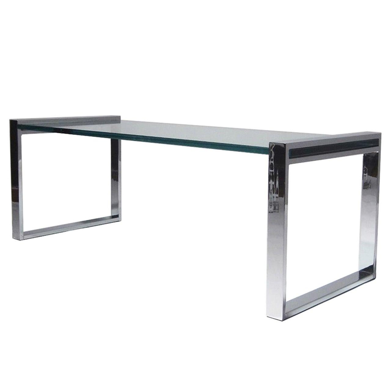 "Charles Hollis Jones ""Box"" Coffee Table in Nickel and Glass"