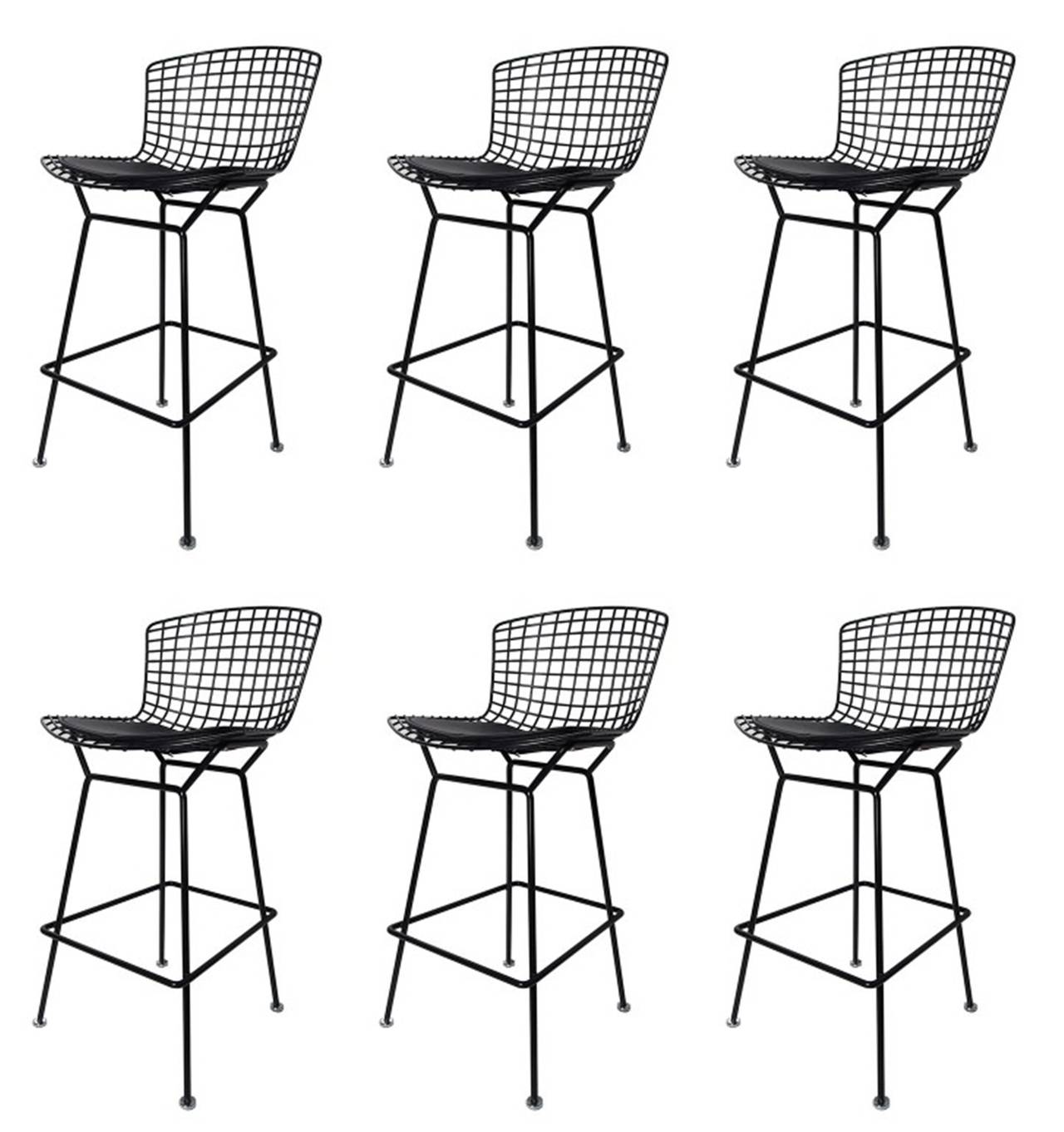 Set of Six Harry Bertoia Bar Stools Manufactured by Knoll International 2