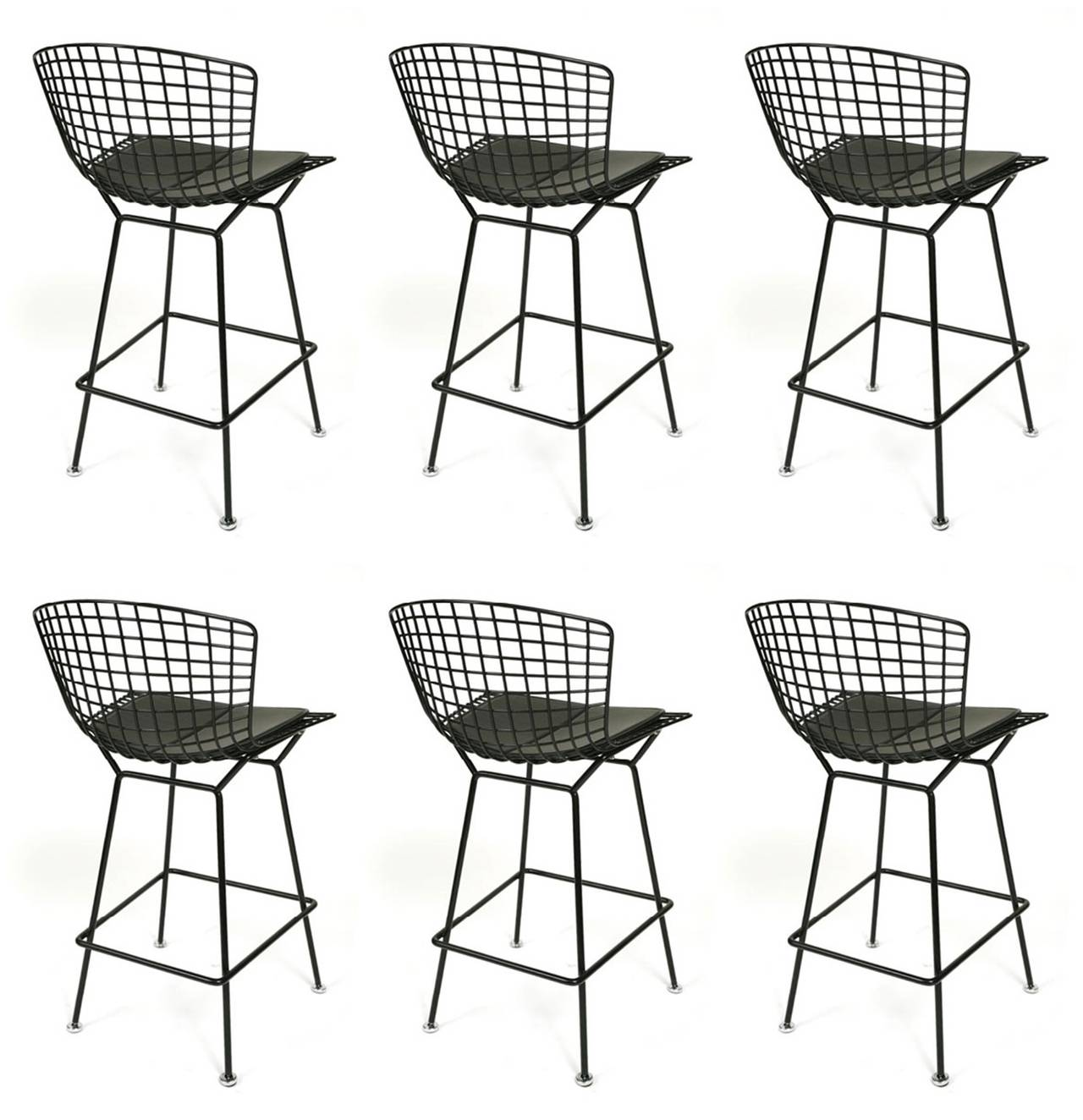 Set of Six Harry Bertoia Bar Stools Manufactured by Knoll International 3