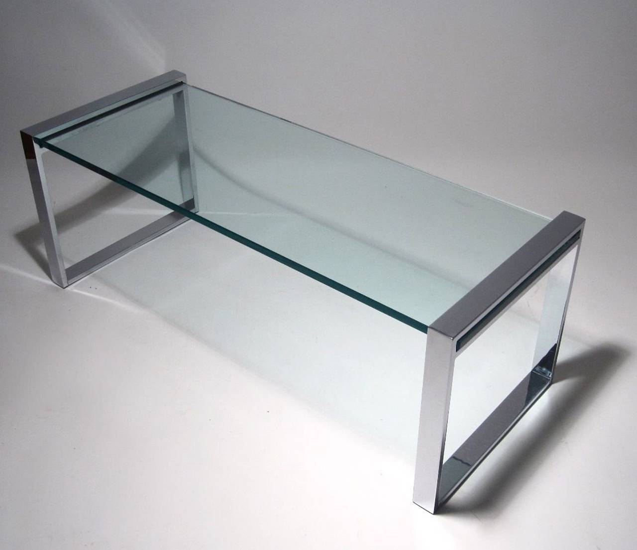 Charles hollis jones box coffee table in nickel and glass for sale at 1stdibs Glass box coffee table