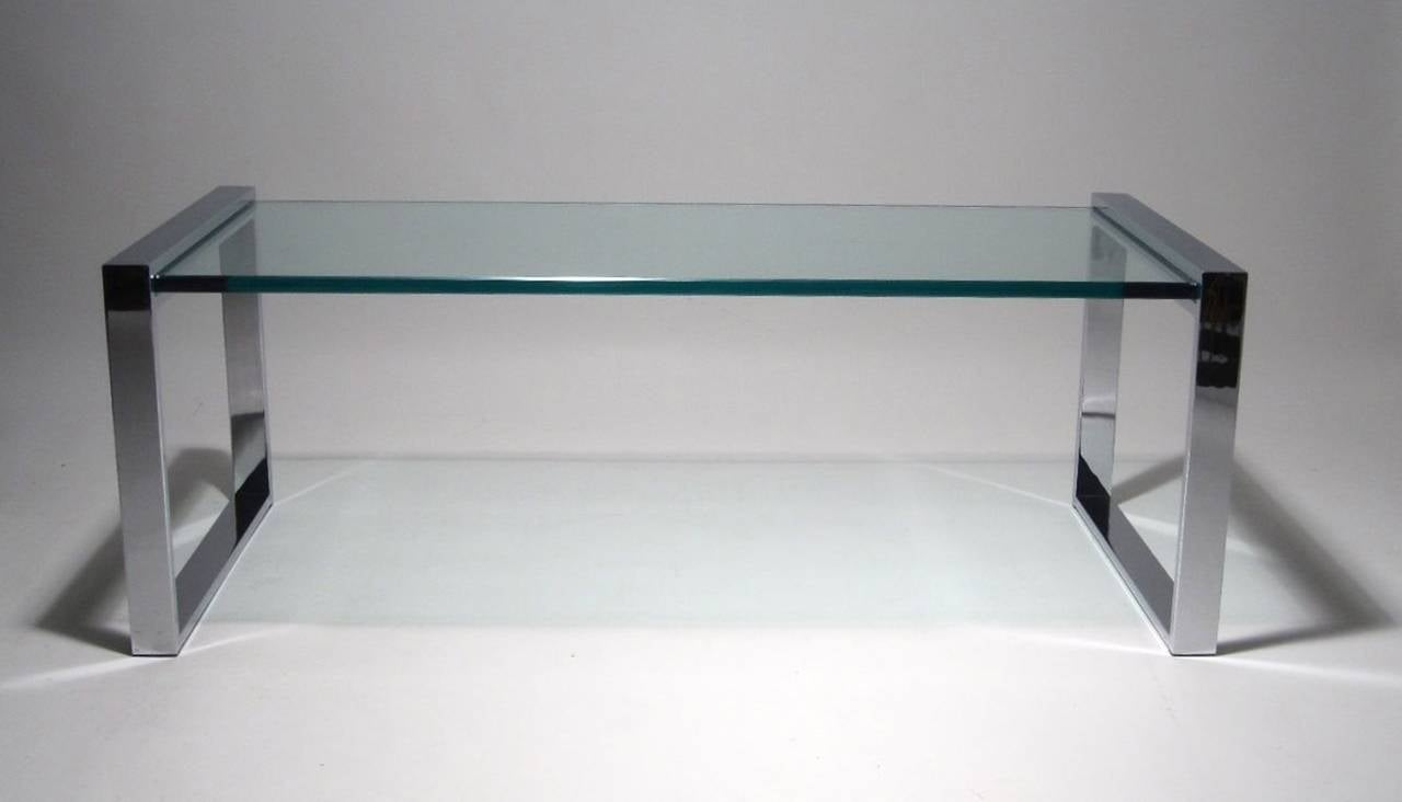 Charles hollis jones box coffee table in nickel and glass at 1stdibs Glass box coffee table