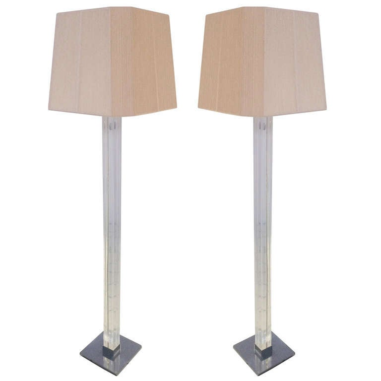Pair of Lucite and Chrome Floor Lamps by Karl Springer