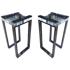Pair of Charles Hollis Jones Side Tables in Lucite and Black Nickel, Signed