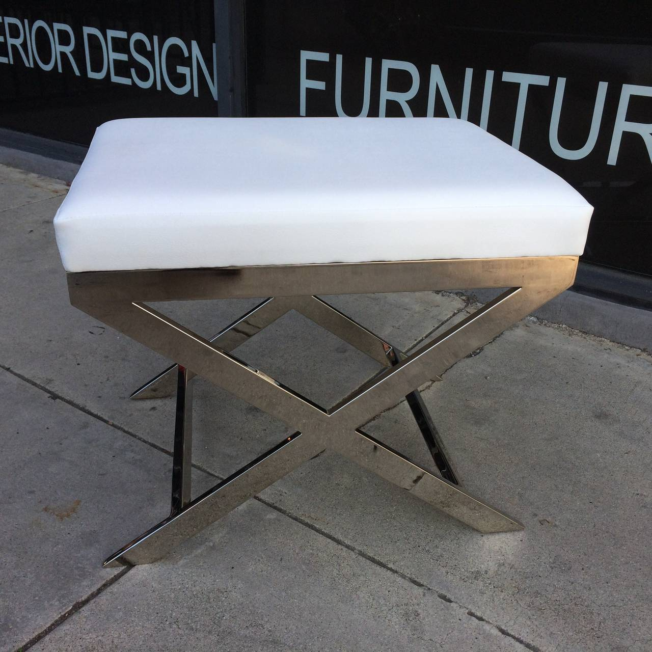 """Pair of """"X"""" Frame Benches by Charles Hollis Jones in Nickel 4"""