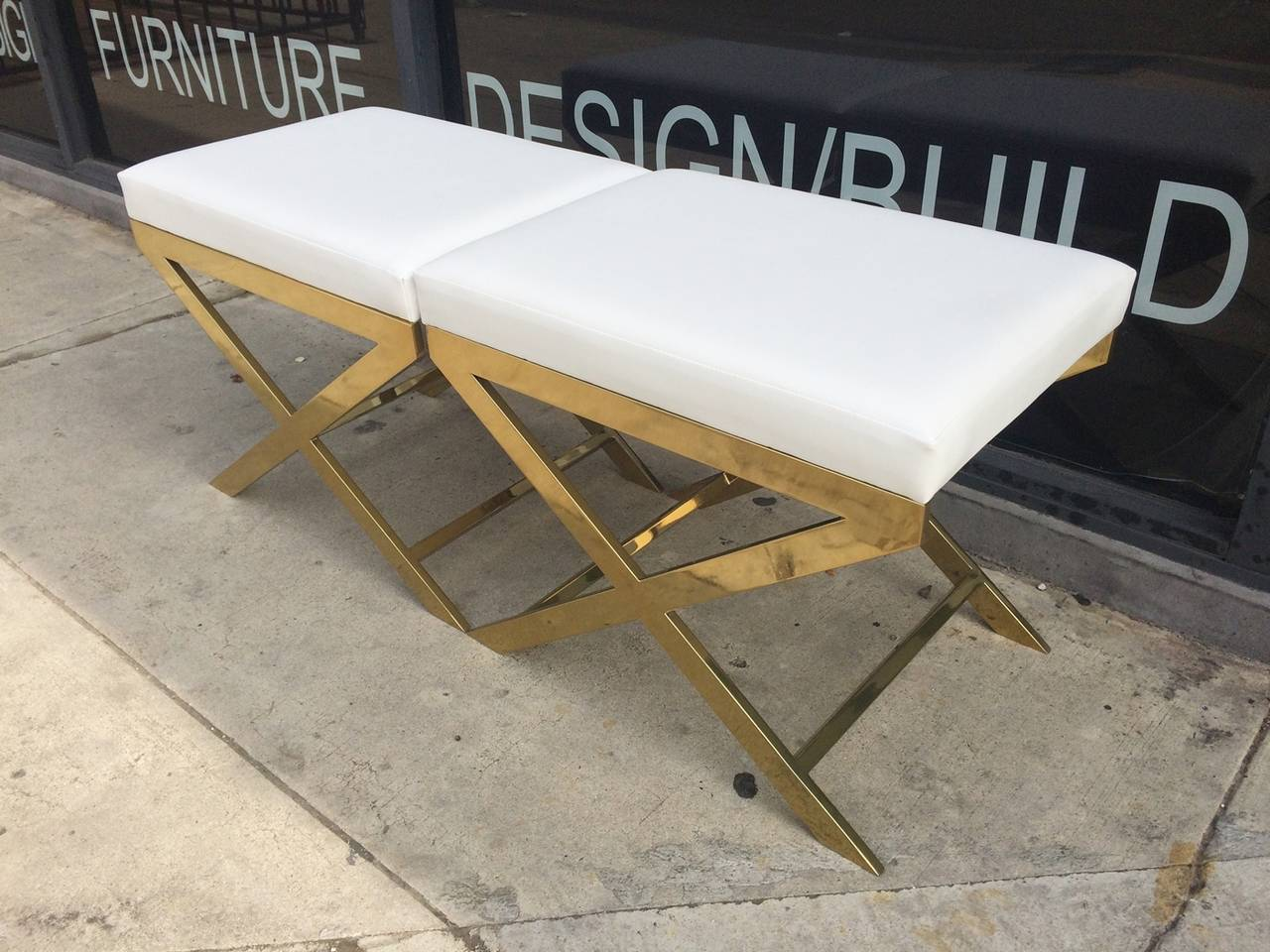 "American Pair of ""X"" Frame Benches by Charles Hollis Jones in Brass For Sale"