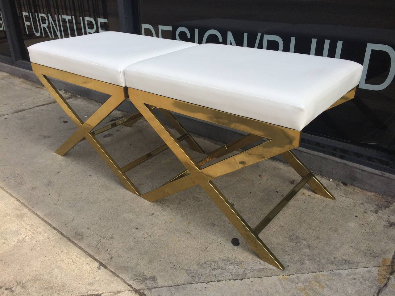 "Pair of ""X"" Frame Benches by Charles Hollis Jones in Brass In Excellent Condition For Sale In West Hollywood, CA"
