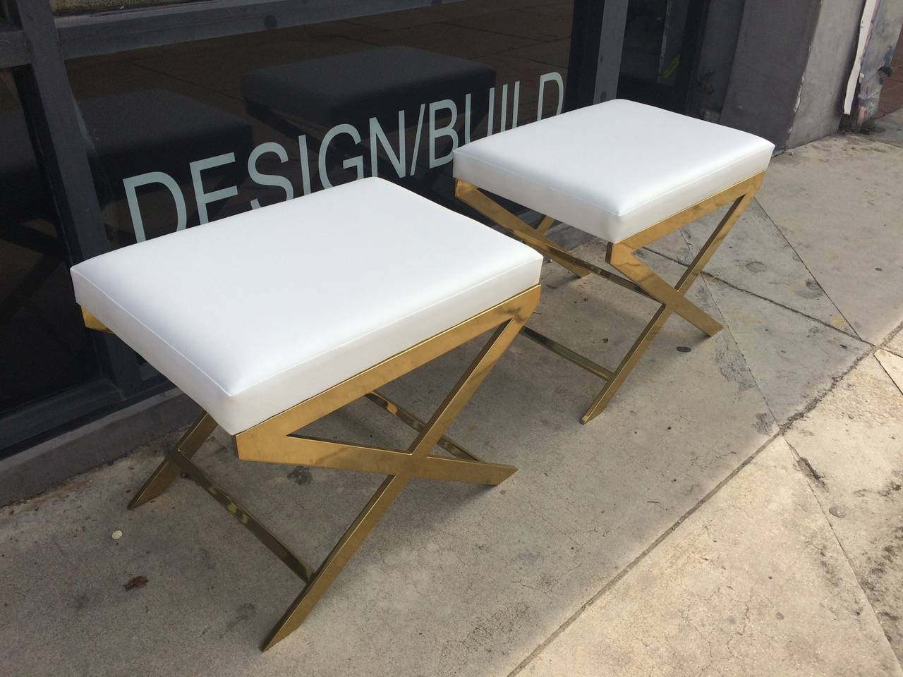 "Pair of ""X"" Frame Benches by Charles Hollis Jones in Brass For Sale 1"