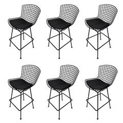 Set of Six Harry Bertoia Bar Stools Manufactured by Knoll International