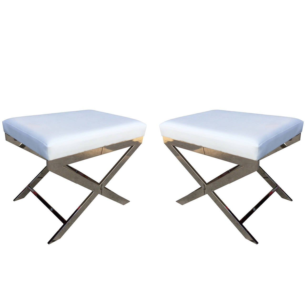 "Pair of ""X"" Frame Benches by Charles Hollis Jones in Nickel"