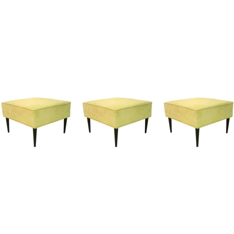 Set of Three Square Stools by Martin, Brahrus of California, circa 1960s