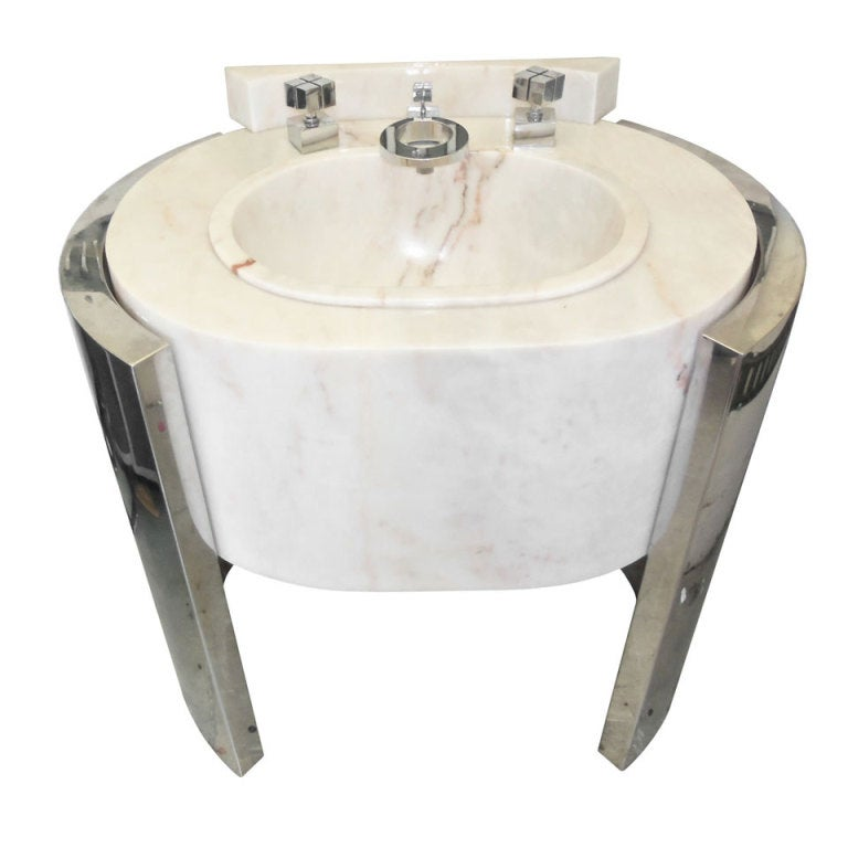 Marble Pedestal Sink : Sherle Wagner Pedestal Sink, Chrome and Marble at 1stdibs