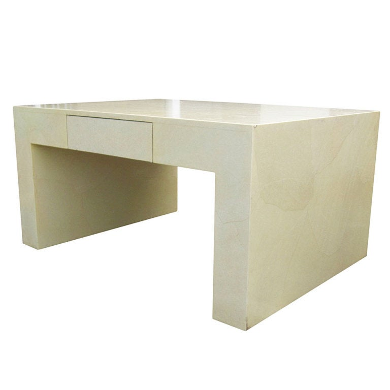 Monumental Parchment Coffee/Cocktail Table with One-Drawer