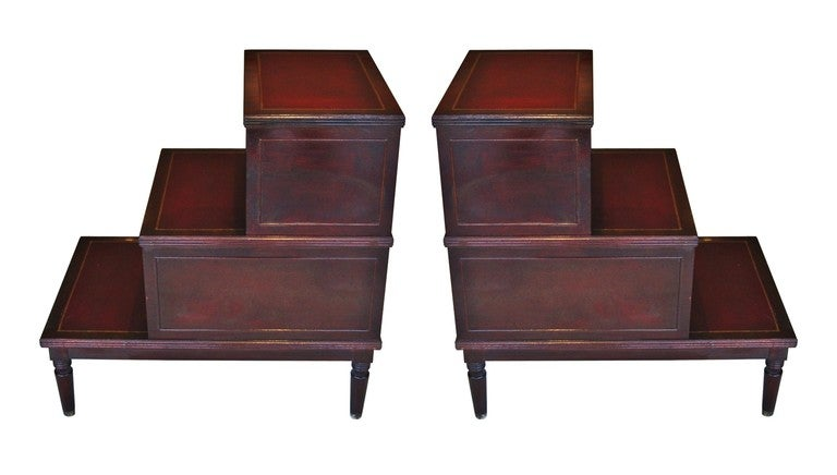 Pair of Mahogany Wood and Leather Top Step Tables by Johnson Furniture 3