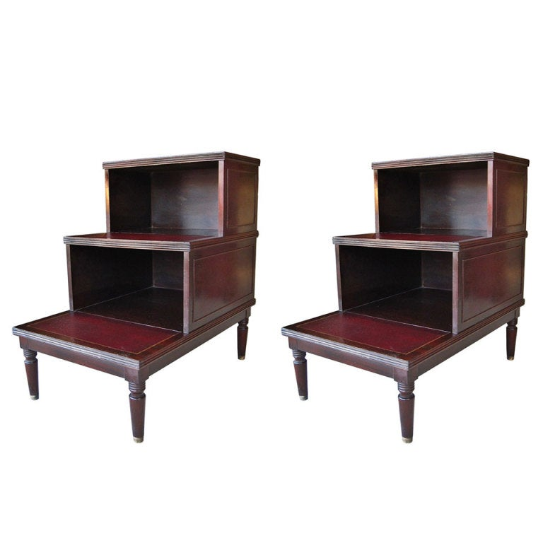 Pair of Mahogany Wood and Leather Top Step Tables by Johnson Furniture 1