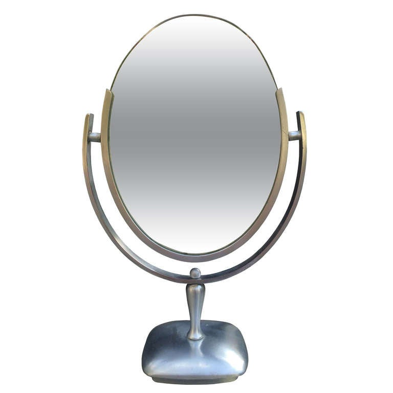 Charles Hollis Jones Vanity or Table Mirror with a Satin Metal Base