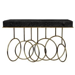Solid Brass Console Table Embossed in Faux Black Cobra Skin